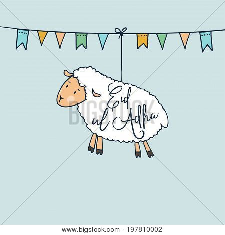 Eid-ul-Adha greeting card with hand drawn sheep and party flags. Muslim community festival of sacrifice. Vector illustration background. Web banner.