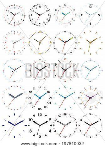 Set of twenty mechanical clocks. Clock face on white background.