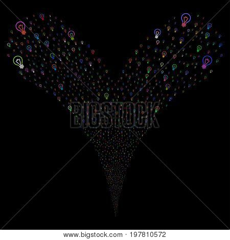 Electric Bulb explosive stream. Vector illustration style is flat bright multicolored iconic electric bulb symbols on a black background. Object fountain created from random design elements.