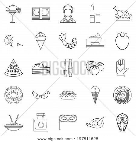 Masquerade ball icons set. Outline set of 25 masquerade ball vector icons for web isolated on white background