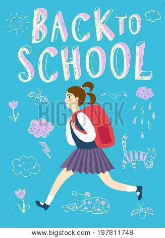 Happy cartoon schoolgirl running with backpack. Back to school title. Education poster for your design.