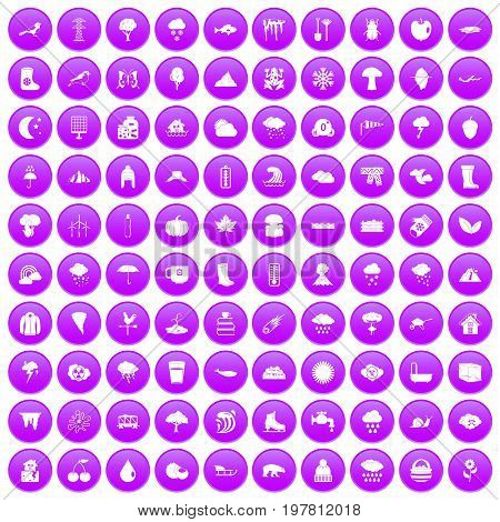 100 clouds icons set in purple circle isolated vector illustration