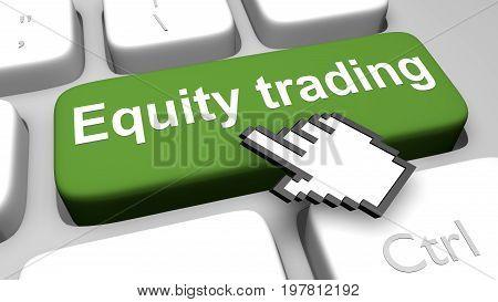 Equity Trading Keyboard Key Animation. 3D Render Illustration.