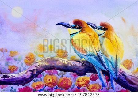 Watercolor landscape original painting on paper colorful of couple bird on a branch amidst beautiful roses and emotion in sky morning sun background