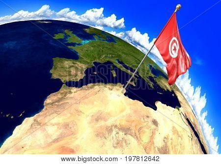 Tunisia national flag marking the country location on world map. 3D rendering, parts of this image furnished by NASA