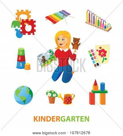 Nursery or elementary school or kindergarten teacher with storybook and toys. Xylophone and puzzle, pyramid and paints, blocks and watering pot.