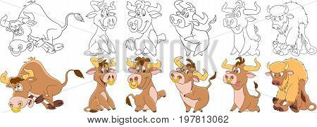 Cartoon animal set. Childish collection of farm cattle. Bull buffalo bison ox yak calf. Coloring book pages for kids.