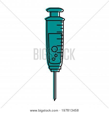 syringe with fluid icon image vector illustration design  blue color