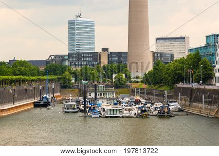 Cityscape with urban marina in front Dusseldorf city.