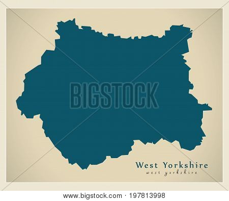 Modern Map - West Yorkshire Metropolitan County England Uk