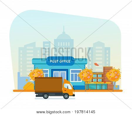 Exterior of autumn post office, office building, autumn city street, transport, background, service. Post office service with postman riding car for delivery. Vector illustration isolated.