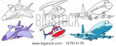 Cartoon flying transport set. Collection of aircrafts. Supersonic f22 raptor airplane helicopter passenger airliner. Coloring book pages for kids.