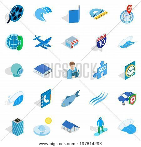 Adventure films icons set. Isometric set of 25 adventure films vector icons for web isolated on white background