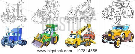 Cartoon transport set. Collection of vehicles. Heavy semi truck (trailer lorry) tractor (bulldozer) tow truck (evacuator) luxury retro old car. Coloring book pages for kids.