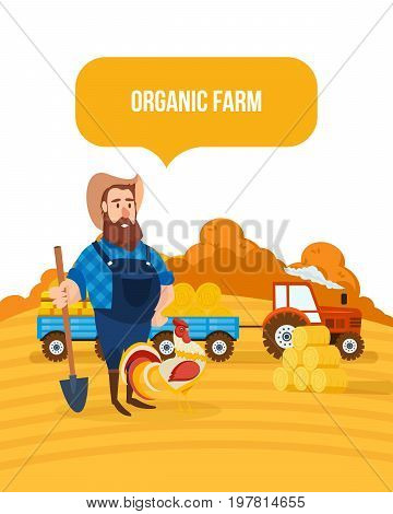 Organic farm. Autumn agriculture and farming. Autumn agribusiness. Rural landscape. Farm and farmland, village with gardens, greenery, harvest and grain, hay, organic products. Vector illustration
