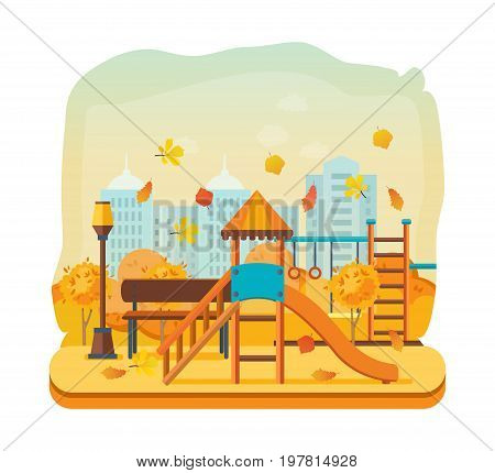 Concept illustration - autumn kids playground, entertainment in the form of horizontal bars and swings, walking park. Autumn city park. Modern vector illustration isolated.