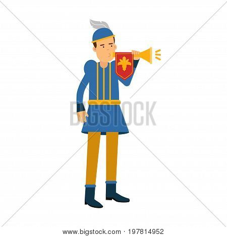 Royal herald medieval character with trumpet, colorful vector Illustration on a white background