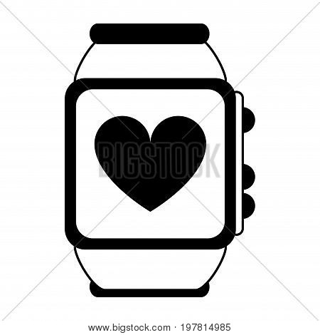 heart rate wrist monitor icon image vector illustration design  black and white