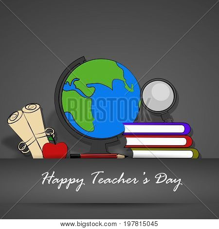 illustration of globe, lense, apple, book, pencil with Happy Teacher's day text on the occasion of Teacher's Day