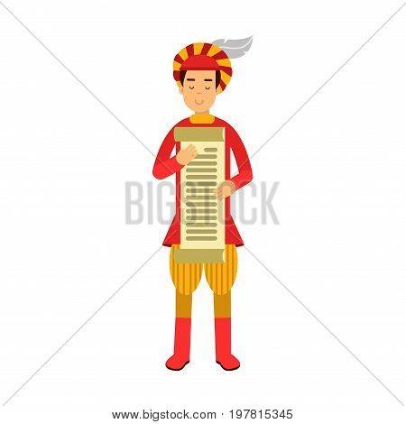 Royal scribe medieval character holding a scroll, colorful vector Illustration on a white background