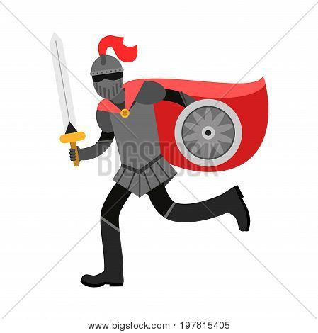 Medieval amed knight character in red cape, colorful vector Illustration on a white background