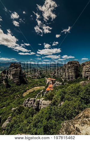 Meteora, A Formation Of Immense Monolithic Pillars And Hills-like Huge Rounded Boulders, Kalambaka,