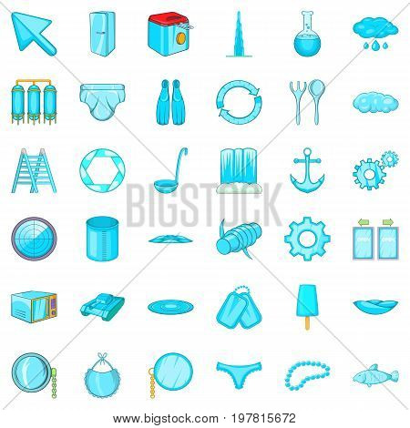 Blue icons set. Cartoon style of 36 blue vector icons for web isolated on white background
