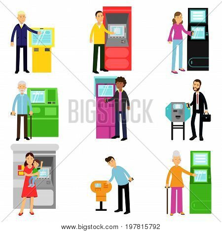 People using ATM terminal set, man and woman doing ATM machine money deposit or withdrawal vector Illustrations isolated on white background
