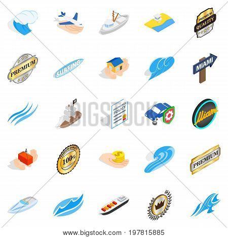 Rest on the sea icons set. Isometric set of 25 rest on the sea vector icons for web isolated on white background