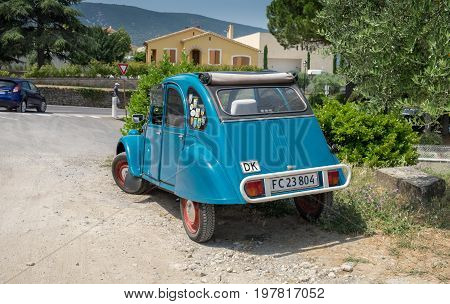 Citroen 2Cv Parked Outside At Provence Town Bonnieux