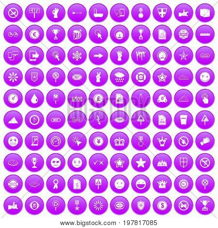 100 symbol icons set in purple circle isolated on white vector illustration