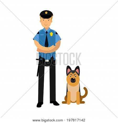 Policeman character in a blue uniform standing with german shepherd, police dog vector Illustration on a white background
