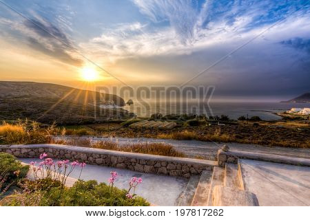 Sunset at Apollonia ('Polonia') village in Milos Greece