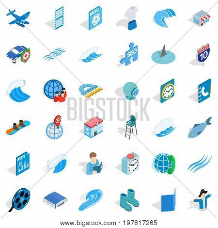 Blue thing icons set. Isometric style of 36 blue thing vector icons for web isolated on white background