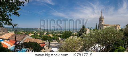 Large Panoramic View Of Bonnieux - Village Of The Luberon In Provence Region. France