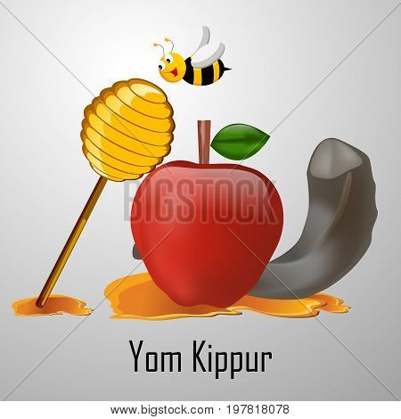 illustration of bee, honey, apple, shofar with Yom Kippur text on the occasion of Yom Kippur