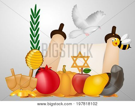 illustration of bee, pigeon, honey, apple, pomegranate, shofar , corn and Pumpkin on the occasion of Yom Kippur