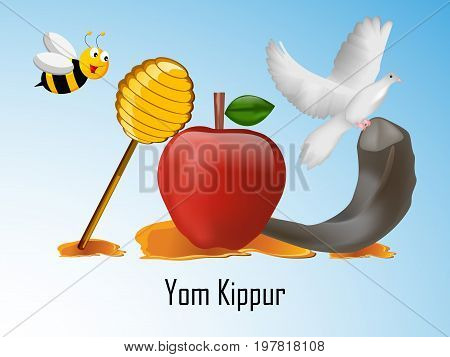 illustration of bee, pigeon, honey, apple, shofar with Yom Kippur text on the occasion of Yom Kippur