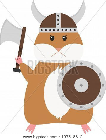 Funny vector viking hamster. Comic cartoon pet.