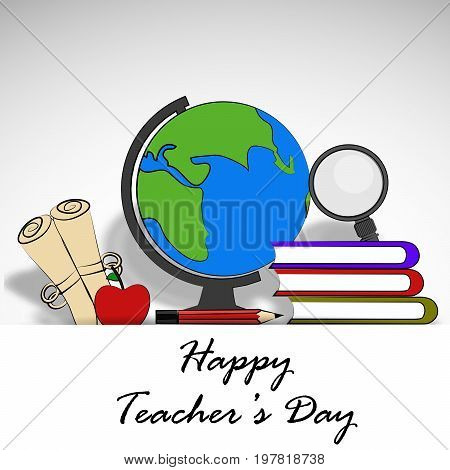 illustration of globe, lense, apple, book, pencil, with Happy Teacher's day text on the occasion of Teacher's Day