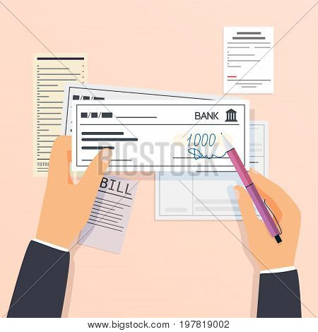 Payments and financial operations. signing bank check. Flat design modern vector illustration concept.