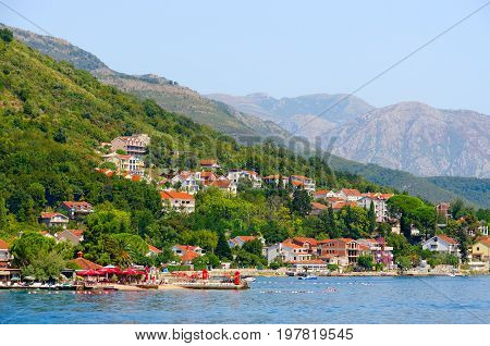 KOTOR BAY MONTENEGRO - SEPTEMBER 16 2015: Beautiful view from sea on resort coast Kotor Bay Montenegro