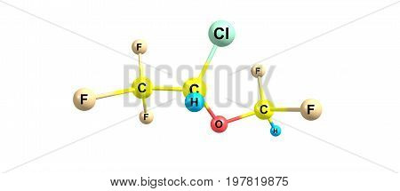 Isoflurane Molecular Structure Isolated On White