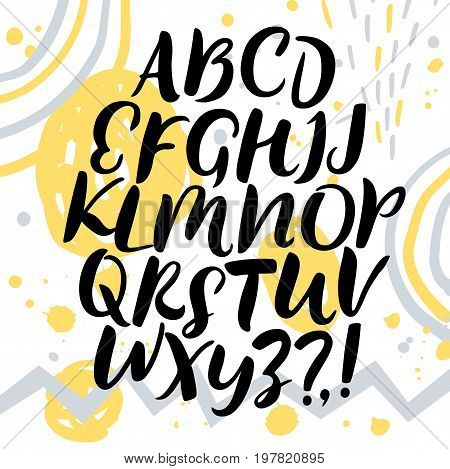 Hand drawn brush calligraphy vector ABC letters. Artistic paintbrush font. Upper case. Beautiful typeface for your design.
