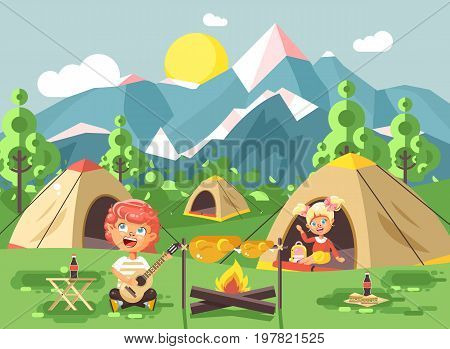 Stock vector illustration boy sings playing guitar nature national park landscape girl in tent bonfire chicken fried snack food camping hiking daytime sunny day outdoor background mountains flat style.