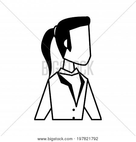 woman with ponytail avatar icon image vector illustration design  black and