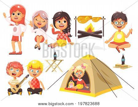 Stock vector illustration isolated cartoon characters children boy sings playing guitar, girl scouts in tent waving hand sits with fork and knife near fire, fried chicken, white background flat style