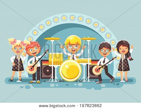 Stock vector illustration children music band musical group characters schoolboy schoolgirl pupils apprentices play guitars drums sing solo microphone back vocals rock concert on stage in flat style.