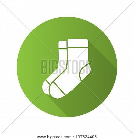 Warm socks flat design long shadow glyph icon. Socks pair. Vector silhouette illustration