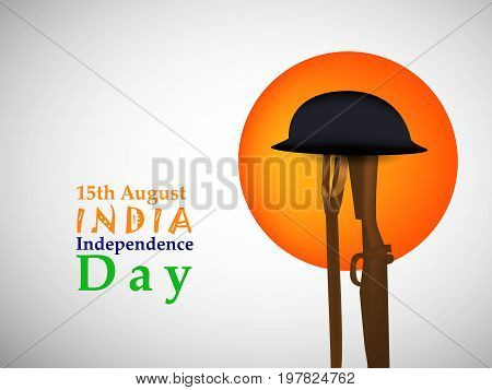 illustration of rifle, gun and hat with 15th August India Independence Day text on the occasion of India Independence day